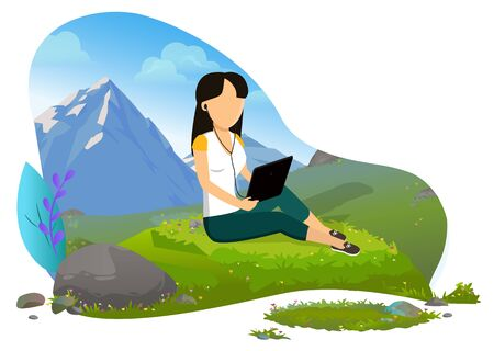 Girl sitting on green grass with headphones and tablet and mountains view on background. Female traveler, tourist enjoying landscape vector illustration. Mountain tourism Фото со стока - 129655838