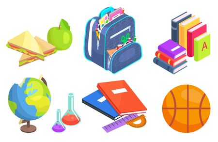 School elements vector, isolated set of books and apple snack. Bag with textbooks and notebooks, globe model, basketball ball chemistry and geography. Back to school concept. Flat cartoon isometric 3d 일러스트