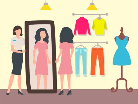 Customer and shop assistant, fashion shop or store interior vector. Woman trying dress in front of mirror and clothes on racks and dummy, sale and discount Vettoriali