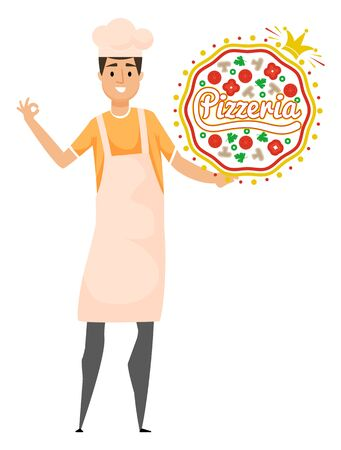 Pizzeria signboard, chef wearing apron, fastfood billboard on white. Portrait view of smiling kitchener holding pizza, tomato and mushroom, cook vector