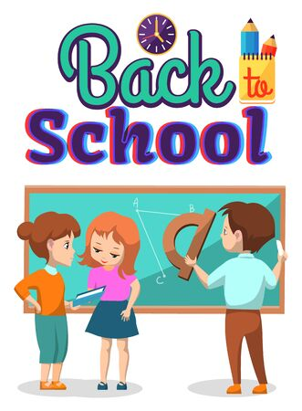 People stand near blackboard. Teacher explaining study material to girl. Boy drawing geometric figures on chalkboard. Back to school vector illustration. Back to school concept. Flat cartoon Фото со стока - 129655865