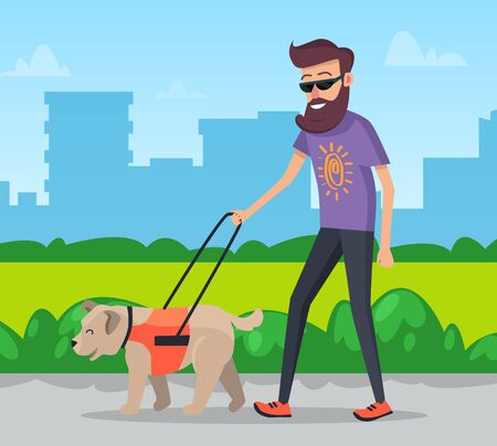 Pet owner walking dog on leash in park vector illustration. Guy and pet happy going straight footpath. Man with beard doing his duty, walk with puppy