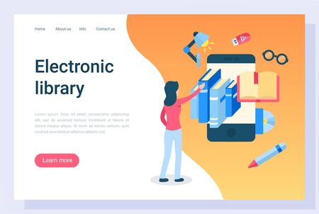 Electronic library access vector, education and getting knowledge from publication. Ebooks and online application for reading, exam preparation. Website or webpage template, landing page flat style