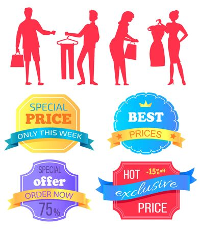 People shopping at store vector, silhouette of man and woman with bags. Super sale best choice, premium quality products. Discounts and offers banners. Business sale stikers. Flat cartoon Archivio Fotografico - 129655871