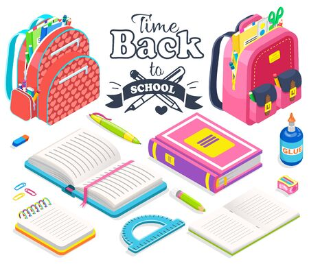 School supplies and bags vector, satchels equipped with books and textbooks, notebook and glue. Pencil and ruler for maths lesson. Geometry 3d style. Back to school concept. Flat cartoon isometric 3d