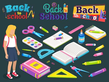 Back to school label, girl with backpack, office accessories. Notebook and pen, glue and dividers, marker and sharpener, ruler and clip, educate. Back to school concept. Flat cartoon isometric 3d Фото со стока - 129655870