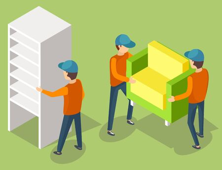 Delivery service workers in uniform moving cupboard and armchair. Porters carry furniture piece. Relocation and transportation vector illustration