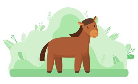 Livestock animal or horse, farming and agriculture vector. Mustang or stallion, ranch or farm at countryside mammal with mane and hoofs on meadow