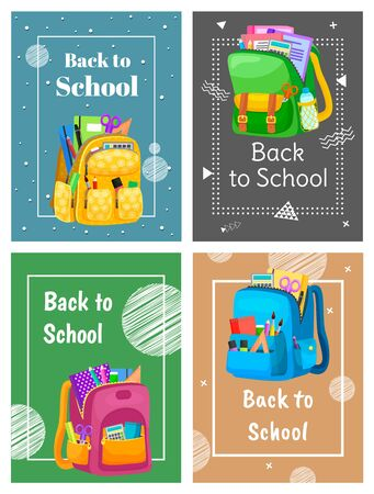 Colored school backpack. Education and study back to school, schoolbag luggage, rucksack vector illustration. Kids school bag with education equipment. Backpacks with study supplies. Student satchels Фото со стока - 129655879