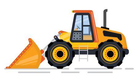 Bouw- en constructiemachines in de industrievector, geïsoleerde tractor. Machine met schop, lader en maaier bulldozer of graafmachine vlakke stijl