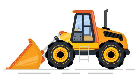 Building and construction machinery in industry vector, isolated tractor. Machine with shovel, loader and mower bulldozer or excavator flat style