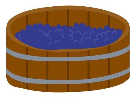 Barrel with grapes, produce beverage, agricultural object. Element of harvest festival, making wine, vineyard sign, purple fruit in wooden keg vector