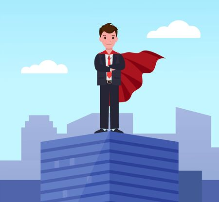 Young super business man, executive worker in superhero cloak on top of office building. Motivation and ambition, ceo manager winner confident employee in suit. Businessman stand on roof of skyscraper  イラスト・ベクター素材