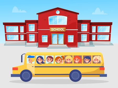 School bus with kids vector, building exterior. Educational institution and students. Transportation of schoolgirl and schoolboy getting knowledge. Back to school concept. Flat cartoon