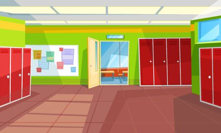 Hallway with lockers and tables with info vector, classroom with open doors. Interior of school corridor and rooms, view from inside 3d isometric. Back to school concept. Flat cartoon