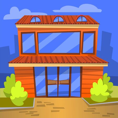 Cafe eatery exterior vector, outdoors view of building for people to eat. Diner with wide windows and bushes, cityscape at night, evening bistro flat. Application game development scene