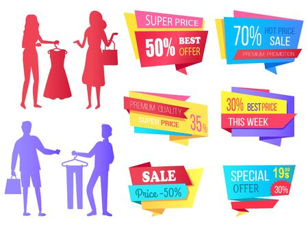 People shopping at store vector, silhouette of man and woman with bags. Super sale best choice, premium quality products. Discounts and offers banners. Business sale stikers. Flat cartoon