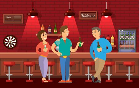 Man and woman talking in pub vector, company of adults drinking alcohol discussing events. Male with beer bottle in hands, bar with stools and games
