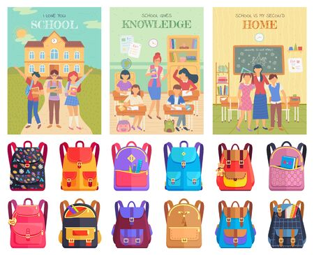School education vector, teacher with students at lesson. Discipline learning, tutor with pupils in classroom. Bags with accessories and supplies. Back to school concept. Flat cartoon