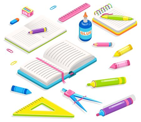 School supplies, notebook and pencil with sharpener, ruler and dividers. Office or chancellery, clip accessory, textbook and pen, writing equipment. Back to school concept. Flat cartoon isometric 3d Иллюстрация
