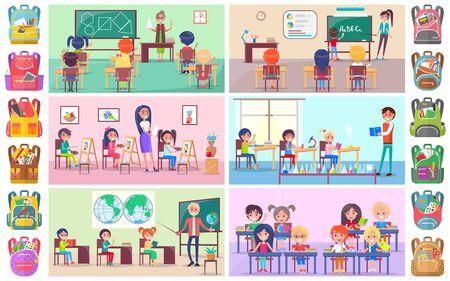 Profesor y alumnos en el aula, compañeros de clase estudiando. Etiqueta engomada de la mochila, niña y niño sentados en el escritorio con vector de lección de libro, química y lenguaje. Concepto de regreso a la escuela. Caricatura plana