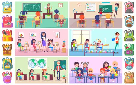 Teacher and pupils in classroom, classmates studying. Backpack sticker, girl and boy sitting at desktop with book, chemistry and language lesson vector. Back to school concept. Flat cartoon Фото со стока - 129655904