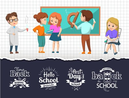 First day after back to best school vector. Pupils happy to see friends and learn new material at lessons. Schoolkids and new subjects as chemistry and geometry. Back to school concept. Flat cartoon