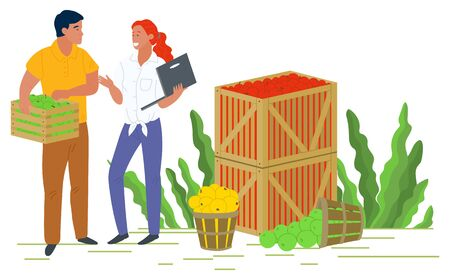 Smiling people selling apples, local product. Harvesting and picking apples in wooden containers, green trees, rustic product, business and laptop vector. Pick apples concept. Flat cartoon Фото со стока - 129655907