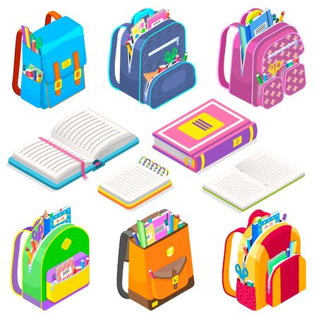 School bags vector, isolated satchels with books and notebooks. Education and learning, portable backpacks of students, 3d isometric style of textbook. Back to school concept. Flat cartoon