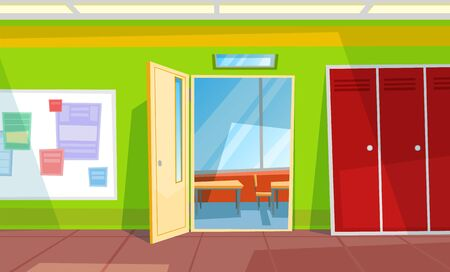 Entrance in classroom, locker and whiteboard with paper. Desktop with chair, educational place, nobody auditory or schoolroom in green color vector. Back to school concept. Flat cartoon
