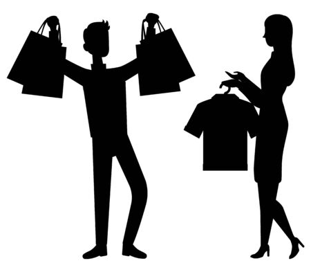 Shopping and sale, customer and shop assistant isolated silhouettes vector. Man customer with bags and packs, girl with clothes on rack, discount