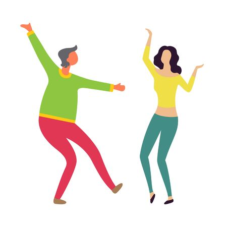 Male and female dancers moving together, man and woman dancing, girl and boy characters in casual clothes. Vector husband and wife entertain on party Illustration
