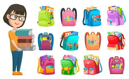 Girl holding book, backpack set, school club. Pupil with literature, pen and notebook, tassel and paints in bag, educational symbol, accessory vector. Back to school concept. Flat cartoon