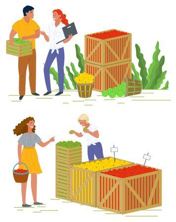 Verkäufer mit Obst pflücken, Äpfel einkaufen, Produkt im Container ernten. Leute, die vegetarisches Essen, Geschäft und Einzelhandel, landwirtschaftliche Arbeitsvektor kaufen Apfel pflücken Konzept. Flache Karikatur
