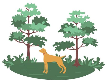 Green forest with trees and bushes and hunting dog pointer isolated cartoon animal. Vector pet and green wood, purebred for hunt, pedigree hound