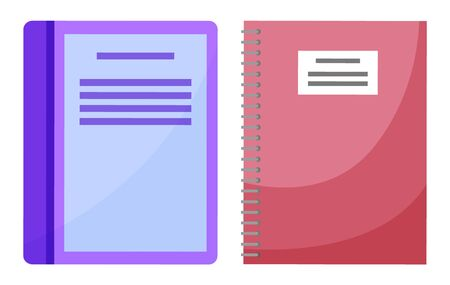 Books vector, notebook and textbook isolated printed material for school and education. Encyclopedia closeup, manual getting knowledge in university Иллюстрация