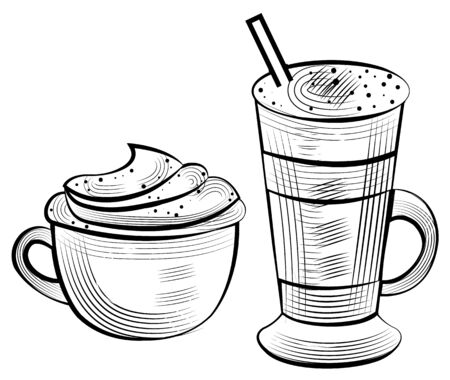 Cappuccino and latte drinks, outline of coffee with whipped cream and tube. Sketch of mug with handle, energy beverage, sketch of caffeine vector