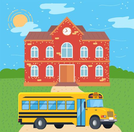 Bus near school, public transport and education building, exterior of construction. Study place and yellow vehicle, college and road, knowledge vector. Back to school concept. Flat cartoon