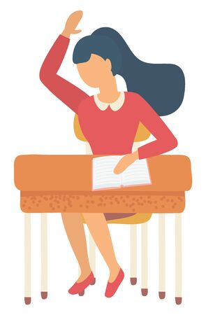 Pupil sitting at table with notebook, girl rising hand. Knowledge occupation, kid writing in exercise-book, back to school, studying in classroom vector. Back to school concept. Flat cartoon