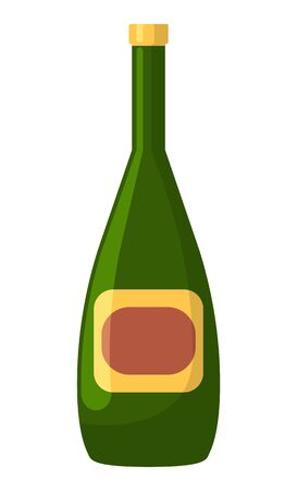 Bottle of wine or champagne, alcohol beverage, disco symbol. Glass volume with drink, element of holiday, celebrating icon on white, hen-party vector Illusztráció