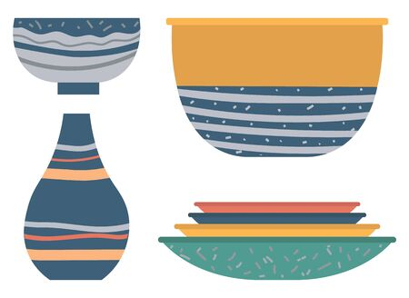 Earthenware vase, soup-plate and bowl decorated by lines and dotted. Handmade and rustic dishware set, plate and ceramic jug on white, rustic dish. Vector illustration in flat cartoon style