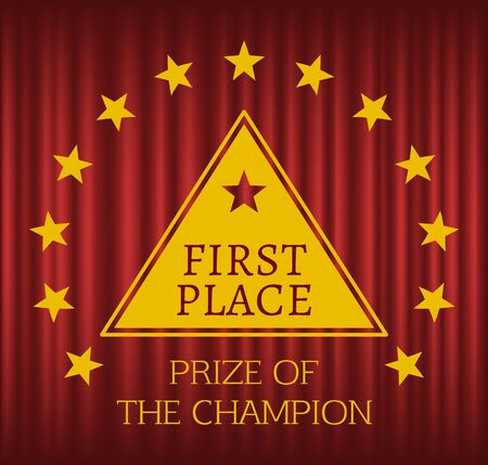 First place reward in triangle form in wreath of golden stars. Prize of champion. Winner metal award badge or sign, victory trophy vector illustration. Red curtain theater background Banque d'images - 131138020