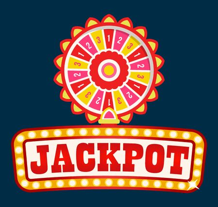Jackpot neon signboard with light bulbs and fortune wheel. Casino gambling game lo with prize combinations and stacks of earned money. Betting and risk concept. Vector in flat cartoon style Vectores