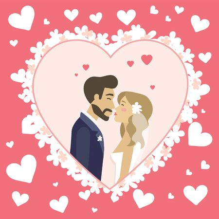 Bride and groom kissing husband and wife wearing veil decorated with flower, hearts and romantic atmosphere. Wedding ceremony invitational celebration card. Vector illustration in flat cartoon style