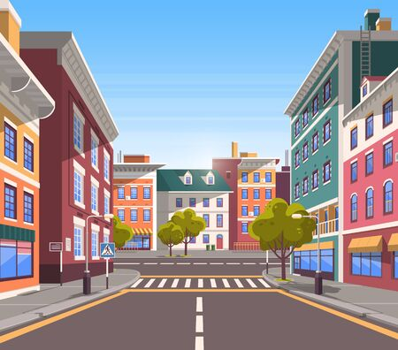 Town with buildings and empty street, 3d look of city road and houses appartment. Bushes and trees, greenery cityscape. Skyline, crossroad with zebra. End of the street. Vector in flat cartoon style Illusztráció