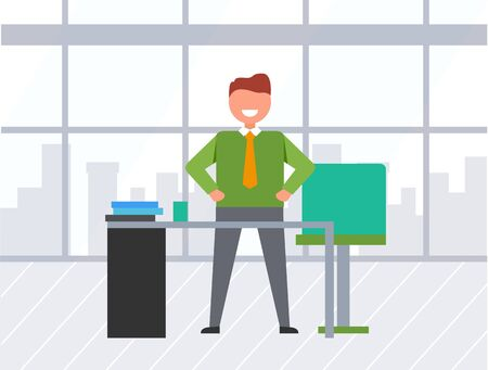 Happy manager or businessman standing near desktop, smiling employee character on workplace in office. Paperwork of male indoor, skyscrapers view from panoramic window. Vector in flat cartoon style