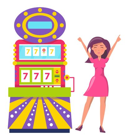 Young beautiful woman play in gambling. Person win and raising hands up. Lady wearing dress won money in slot machine showing lucky sevens 777. Luck and bingo in casino. Vector n flat style