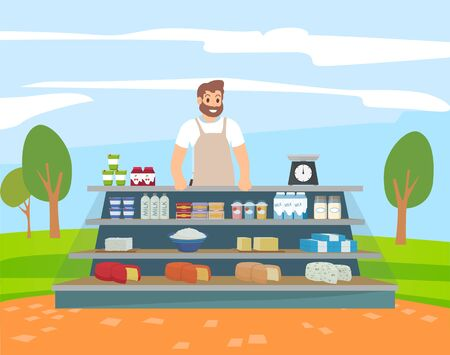 Seller retail of dairy products, bottle of milk, yogurt and cheese, cottage cheese and butter. Smiling man standing near shelf with milk food park festival or nature market. Vector in flat cartoon 向量圖像