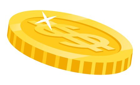 American money with sign of gold dollar isolated icon closeup. Shiny gold coin monet of USA national currency. Banking and precious metals, shining finances. Vector illustration in flat cartoon style Иллюстрация