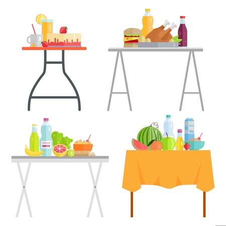 Products on table, cafe dishes and meal. Juice and water, grapefruit and watermelon fruit, Sauce and chicken fried meat and burger. Vector illustration in flat cartoon style